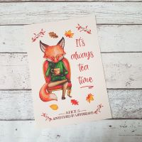 Alice In Wonderland Tea Time Autumn Fox Book Print, UNFRAMED A4, A5, A6