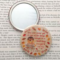 C. S. Lewis Tea & Books Quote Autumn Hedgehog Mirror