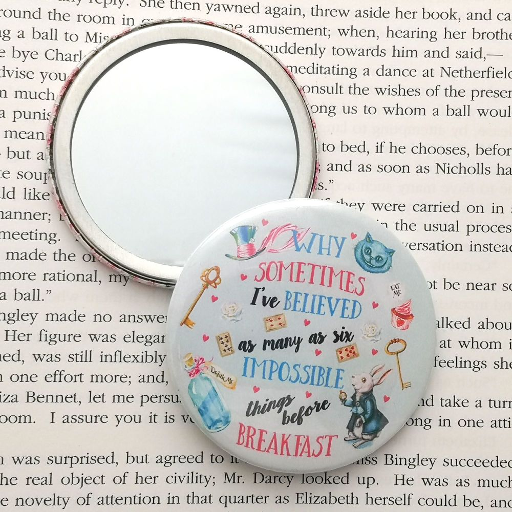 Alice in Wonderland Mirror - Six impossible things Quote