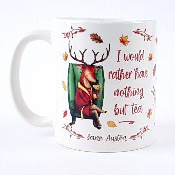 Jane Austen tea deer mug
