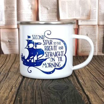 Peter Pan Second Star Quote Enamel Camping Mug