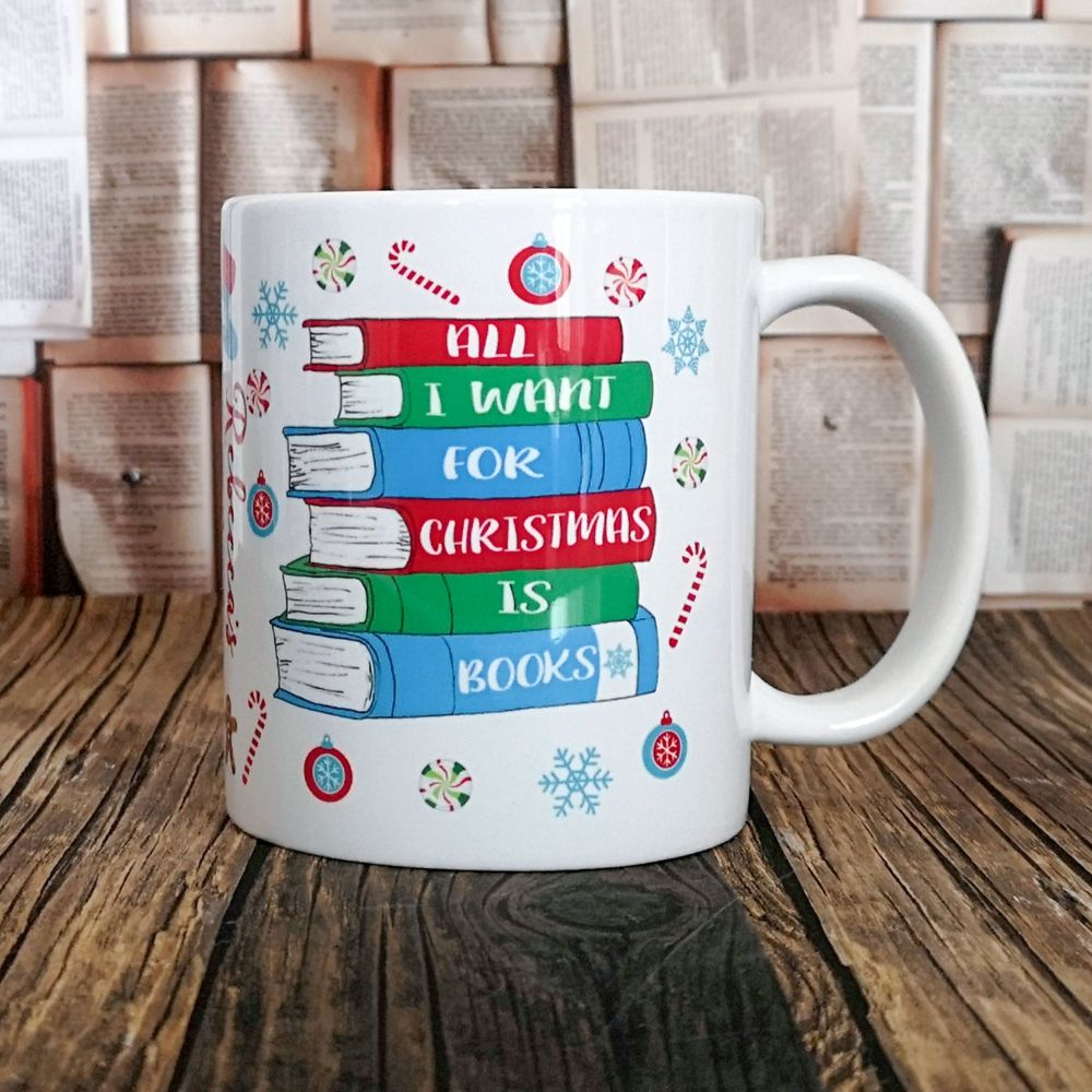 All I want for Christmas is books, personalised mug