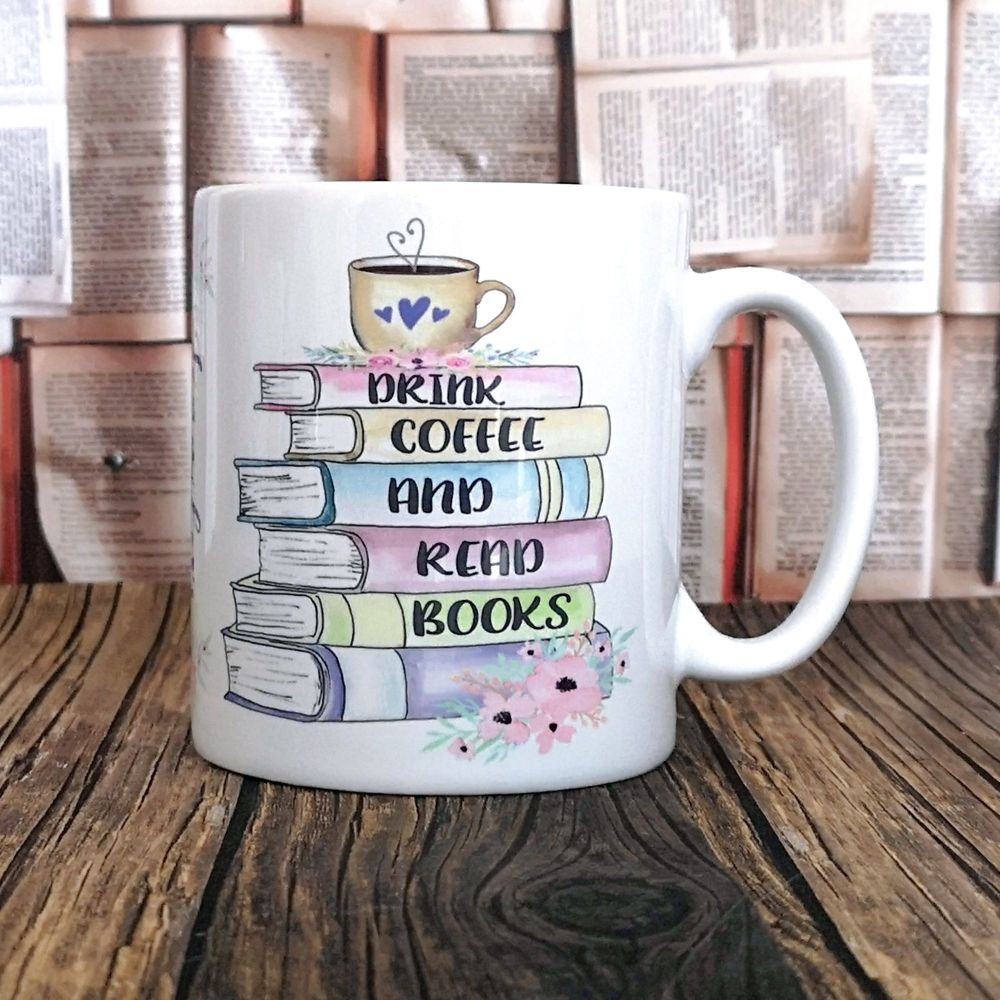 Personalised Drink Coffee & Read Books Mug, Pastel Colours