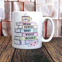Personalised Drink Coffee (or Tea)  & Read Books Mug,Pastel Colours