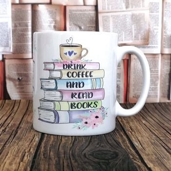 Personalised Drink Coffee (or Tea)  & Read Books Mug,Pastel Colours
