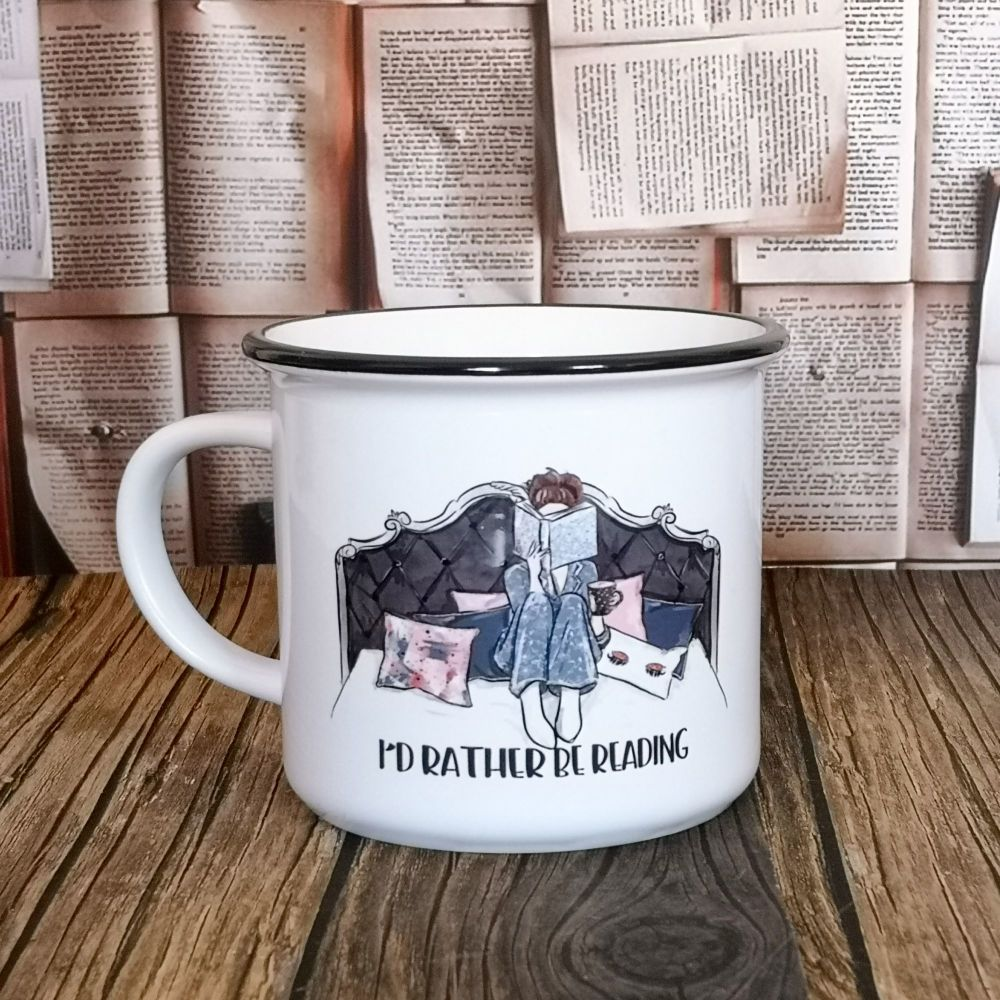 Personalised Ceramic Campfire Style Bookworm Mug - I'd Rather Be Reading Mug