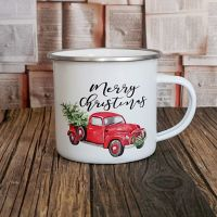 Christmas Tree and Truck Enamel Mug
