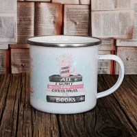 Christmas Book Enamel Mug, All I want for Christmas is books