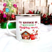 I'd Rather Be Watching Christmas Movies Enamel Camping Style Mug