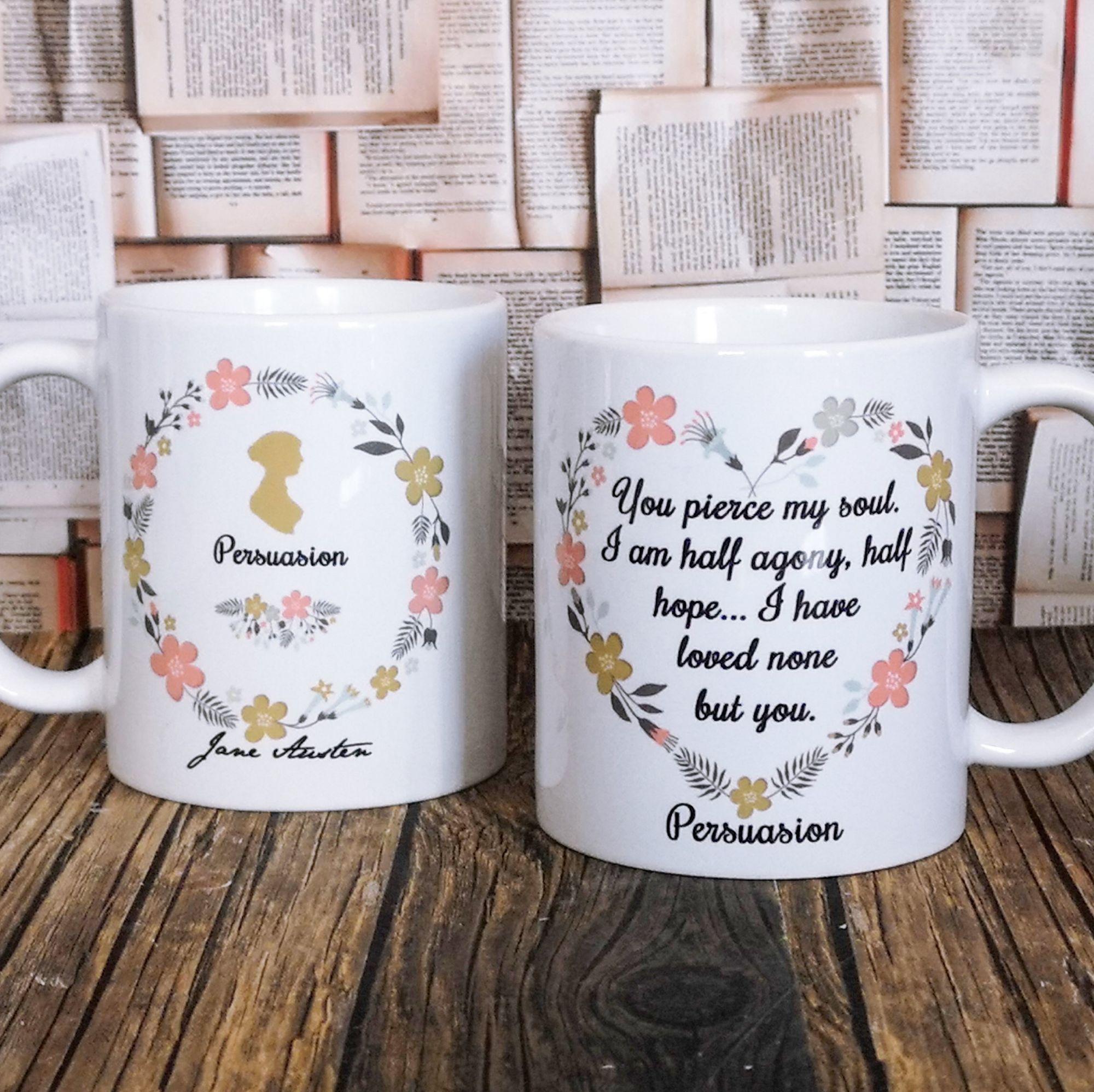 Jane Austen Persuasion Mug Half agony, half hope