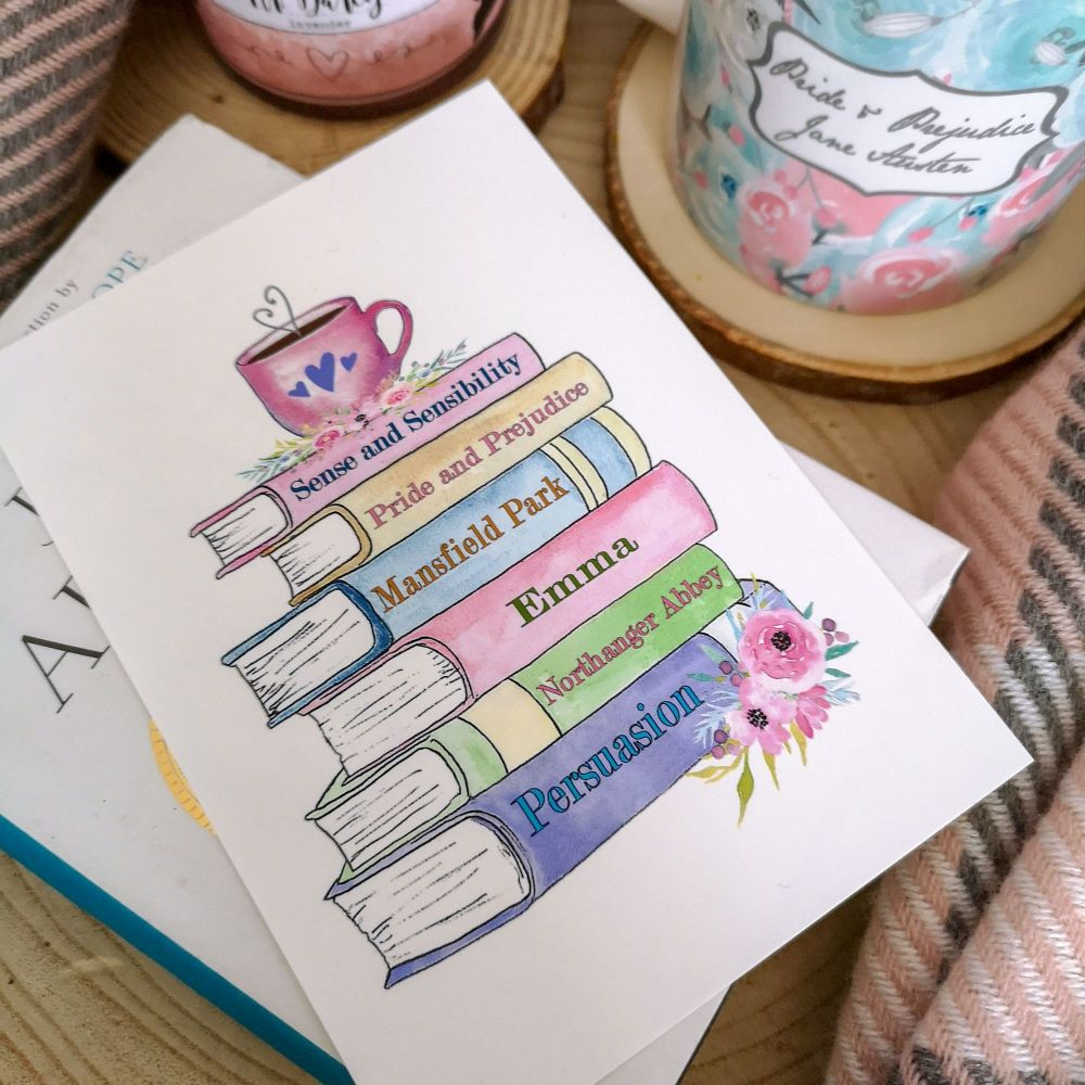 Book Stack -  Jane Austen Print, Gifts for Book Lovers - UNFRAMED A4, A5, A6
