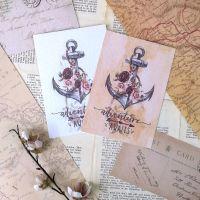 Nautical  Adventure Awaits Vintage Styled Boho Art Prints - Floral Anchor Sailing Design - UNFRAMED A4, A5, A6