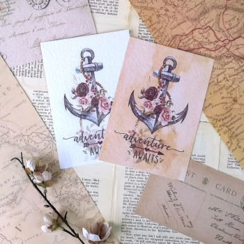 Nautical  Adventure Awaits Vintage Styled Boho Art Prints - Floral Anchor Sailing Design - UNFRAMED A4, A5, A6
