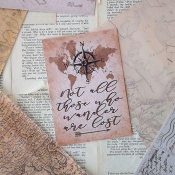 Not All Those Who Wander Are Lost Vintage Styled Art Print UNFRAMED A4, A5, A6