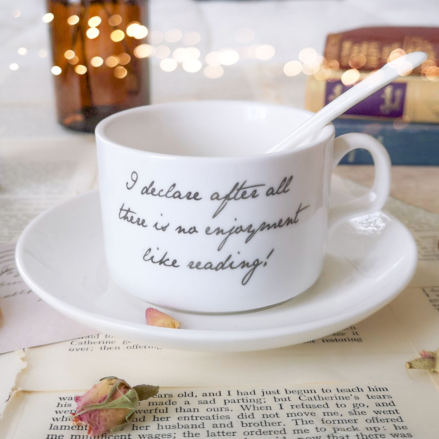 Literary tea cup and saucers