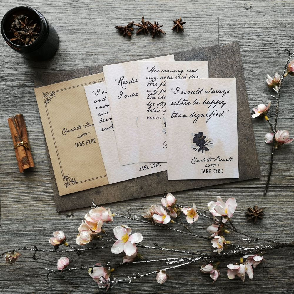 Jane Eyre Love Quote Notes, Set of 4 Vintage Styled Charlotte Bronte Mini Prints