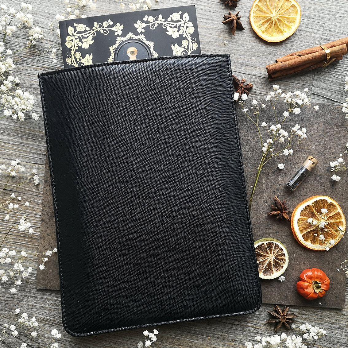 mock leather book sleeve black (3)
