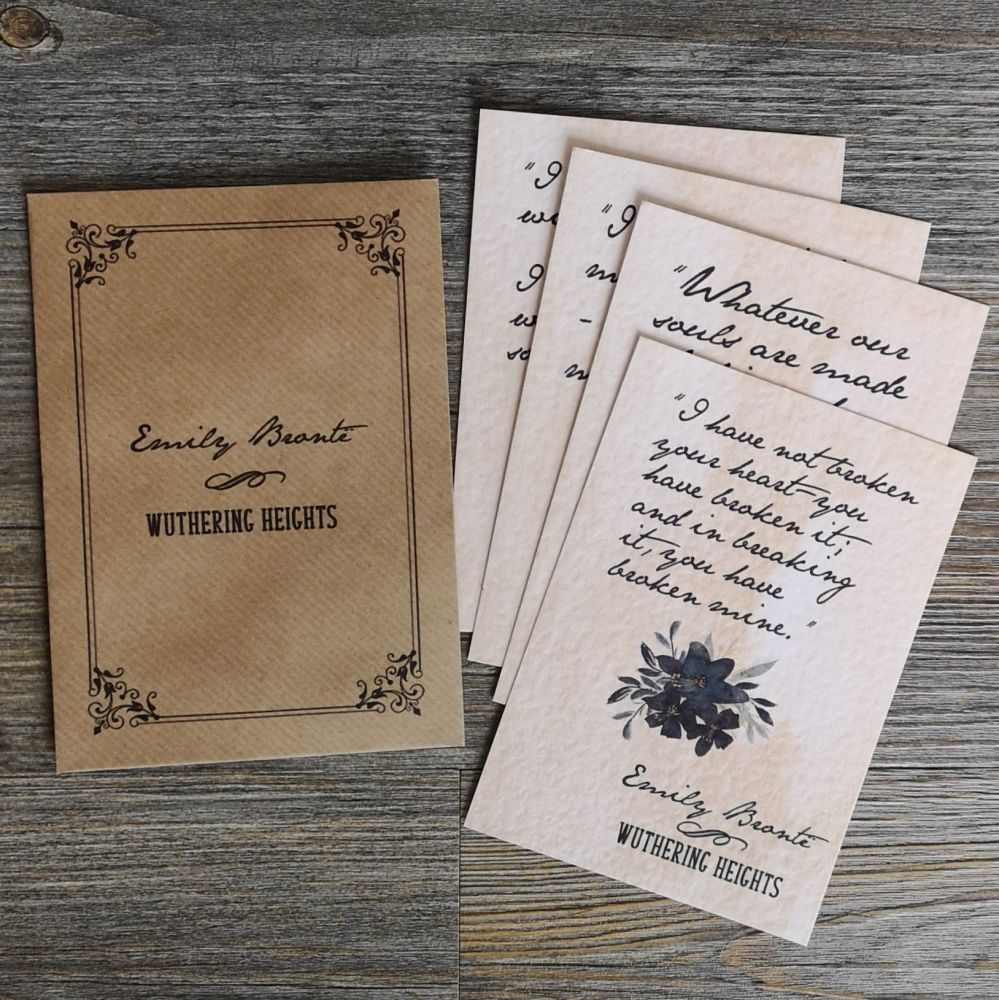 Wuthering Heights Love Quote Notes, Set of 4 Vintage Styled A6 Prints