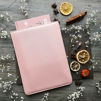 Mock leather book sleeve pink (1) pinker