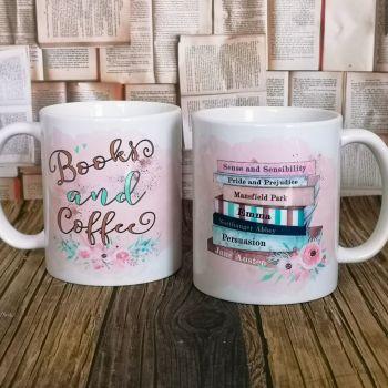 Jane Austen book stack mug