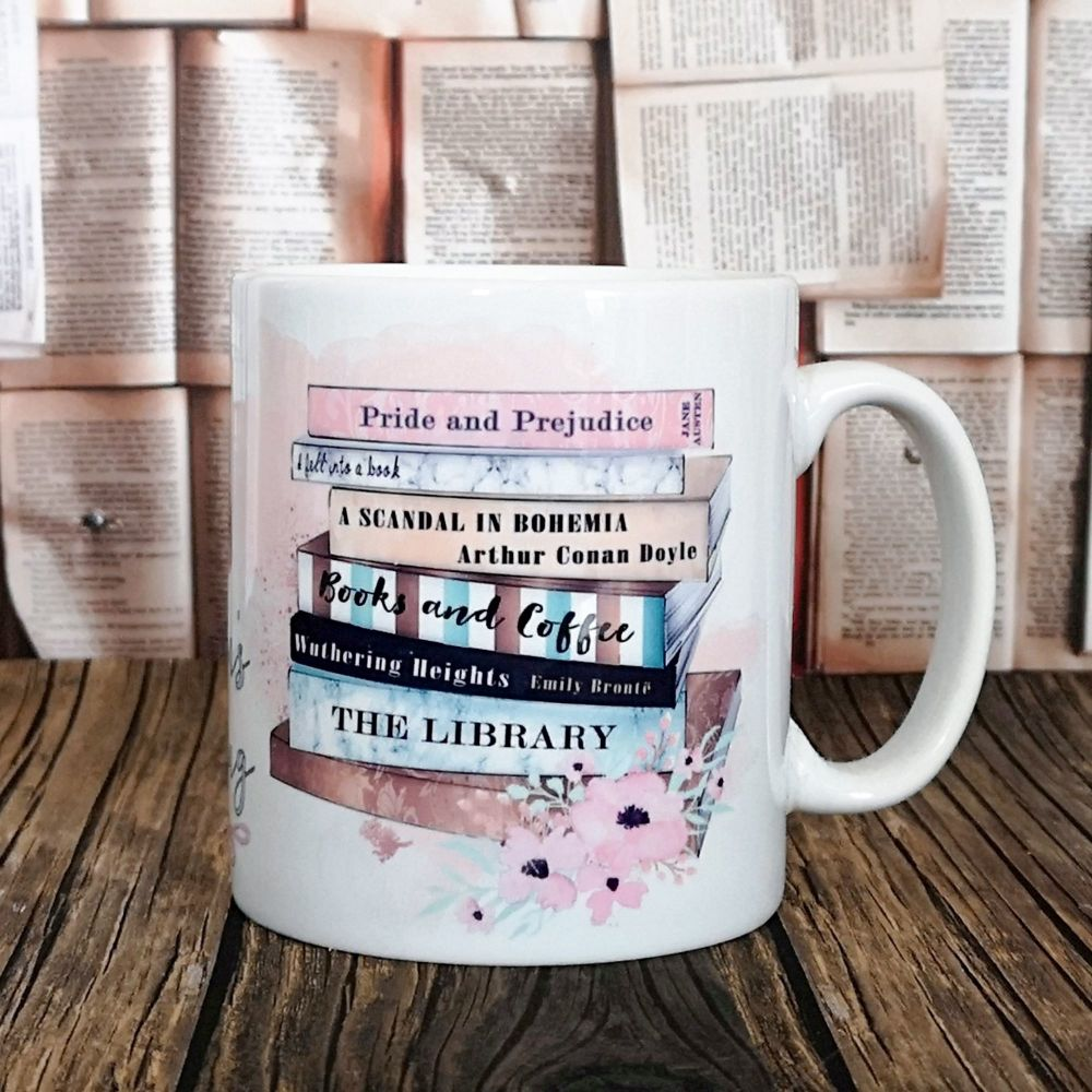 Personalised Books & Coffee Mug, 2 sided-design