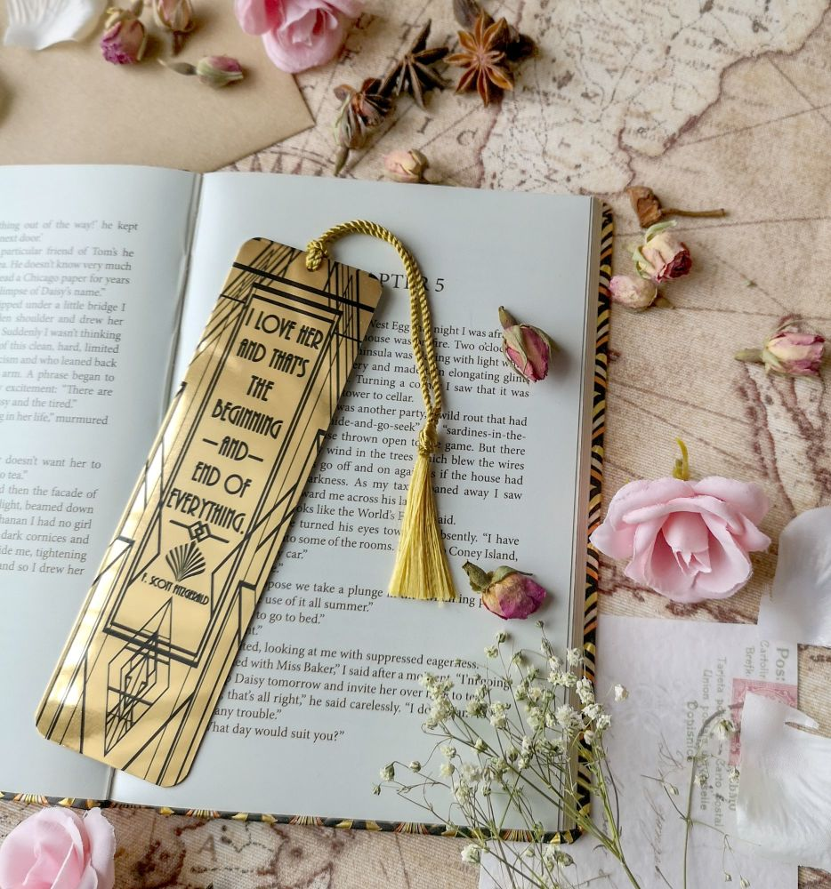 "The Great Gatsby  Gold Peacock Bookmark - ""I love her, and that's the begin"