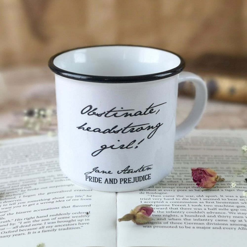 "Jane Austen Ceramic Campfire Mug  ""Obstinate, headstrong girl!"""