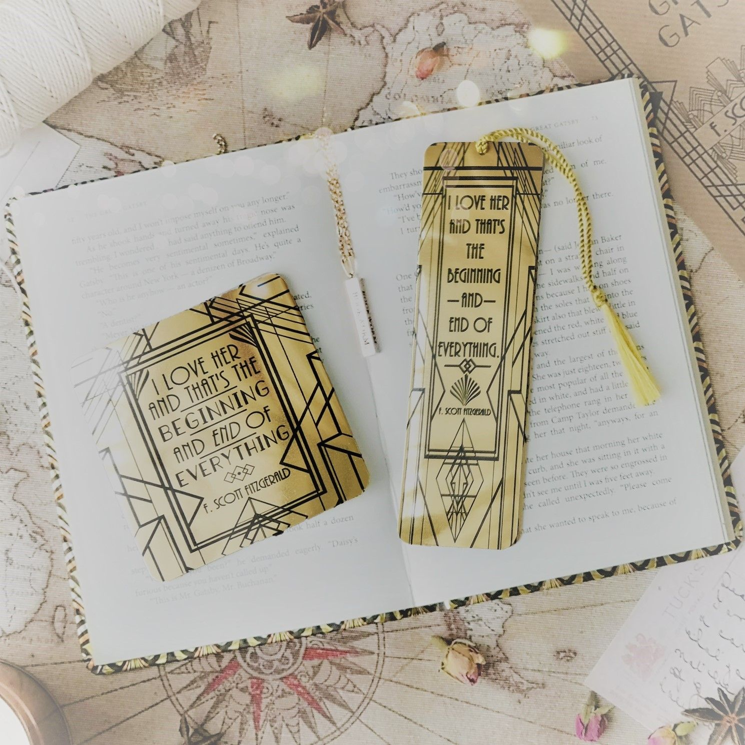 Gatsby bookmark and coaster 3