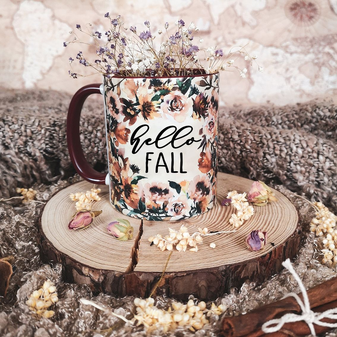Fall vibes burgundy mug