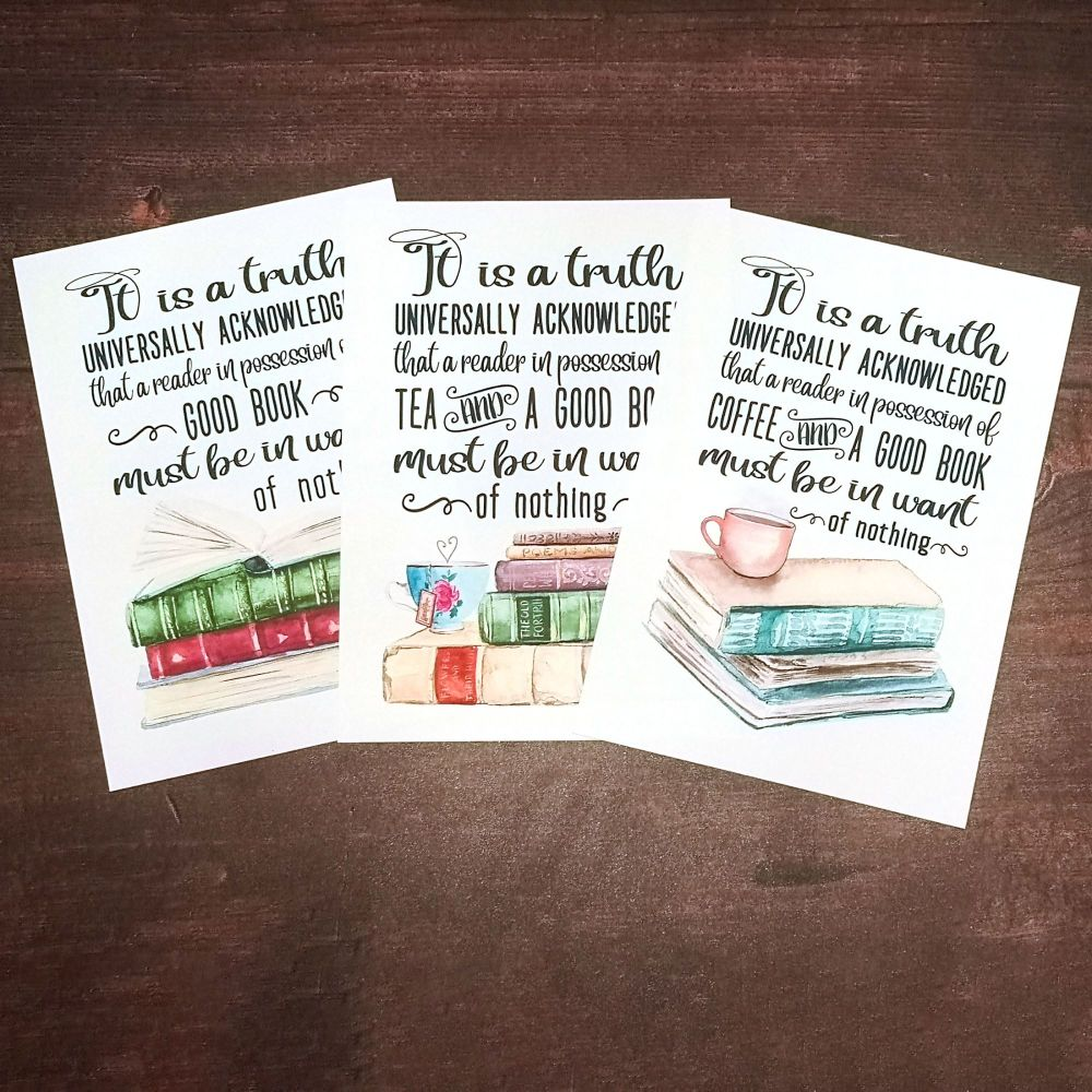 Jane Austen Print, UNFRAMED A4, A5, A6 - It is a truth universally known -