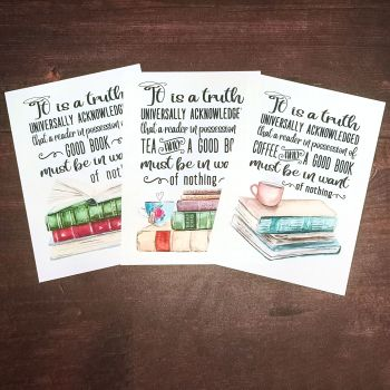 Jane Austen Print, UNFRAMED A4, A5, A6 - It is a truth universally known - tea/coffee/books