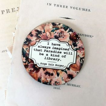 Autumn Floral Book Lovers Coaster with Borges Library Quote