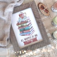 Cozy Bookstack Print - perfect for Winter and Christmas