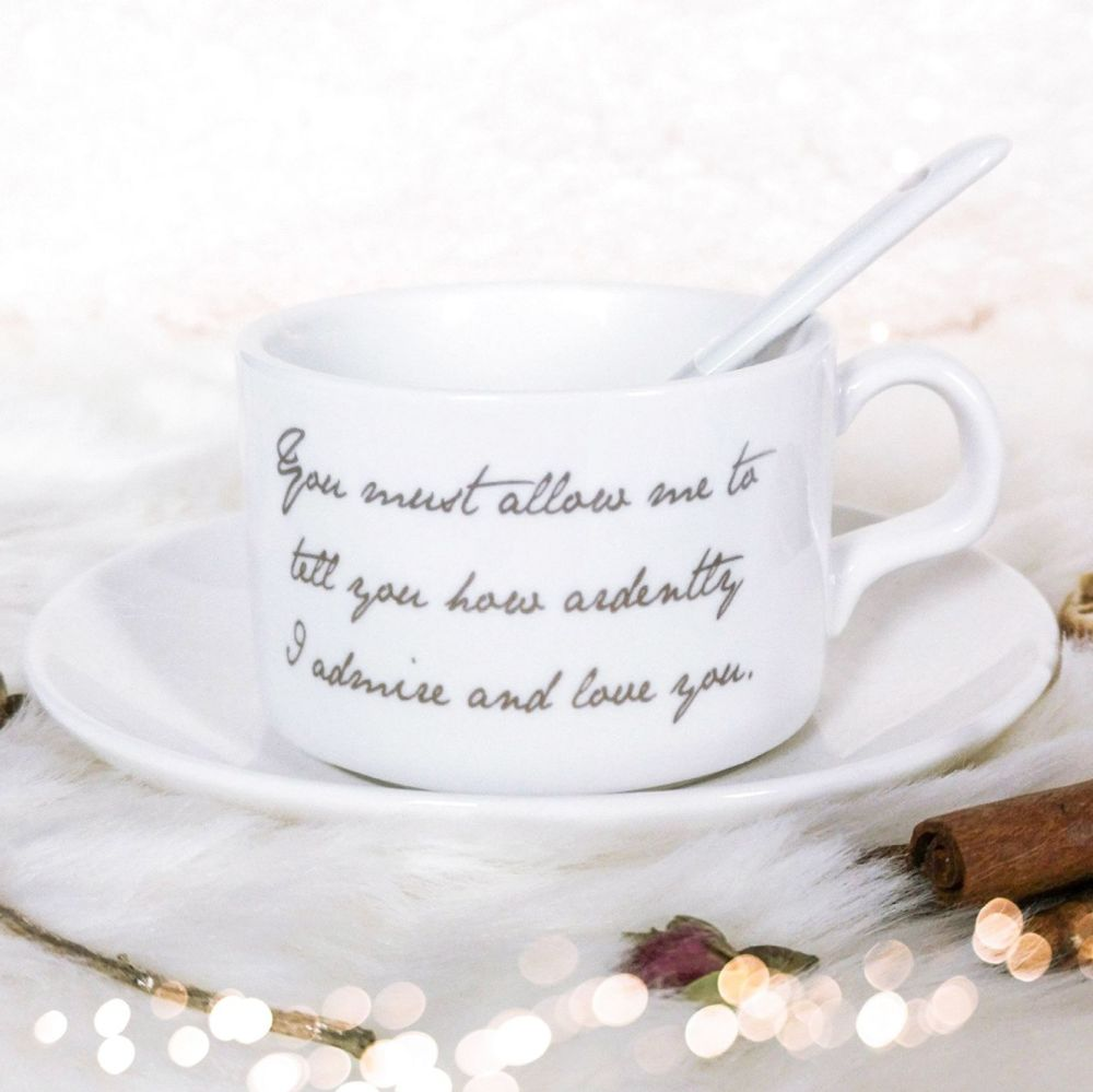 Jane Austen Pride and Prejudice Tea Cup, Saucer & Spoon