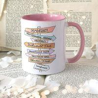 Jane Austen Book Destinations Signpost Mug