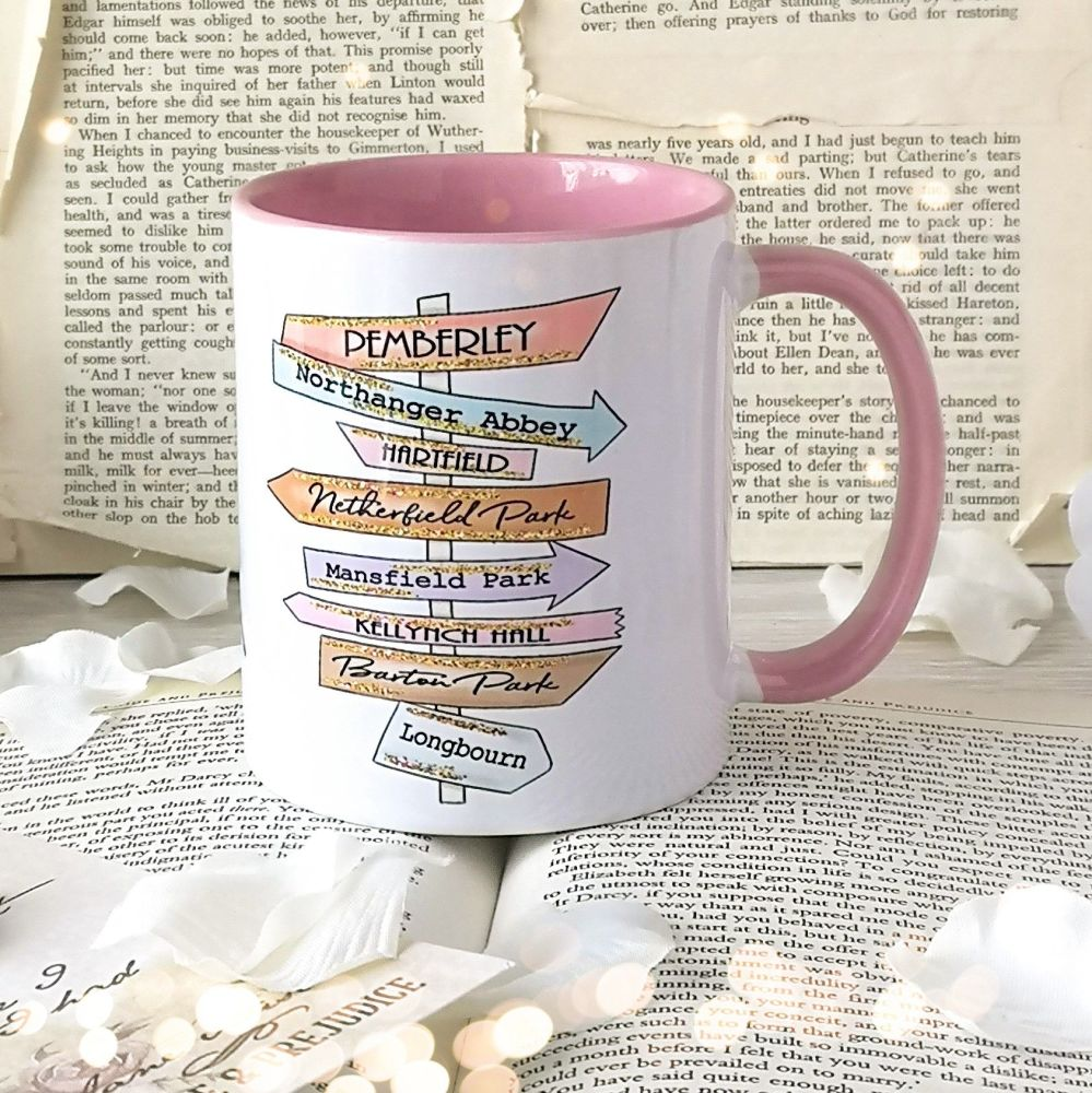Jane Austen Book Destinations Signpost Mug