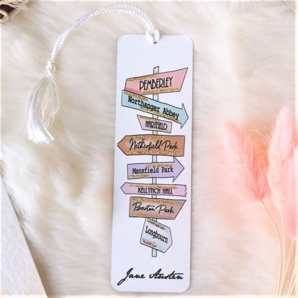 Jane Austen Book Signpost Destinations Metal Bookmark