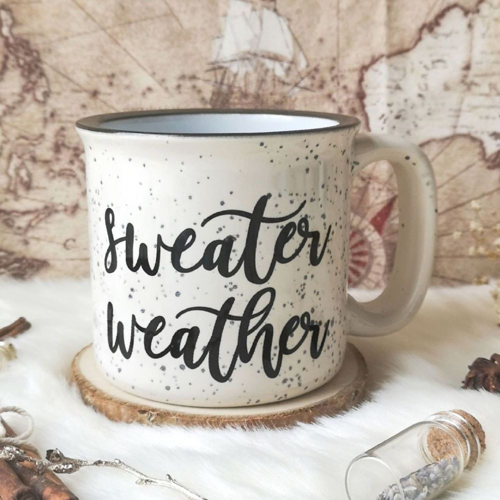 Sweater Weather Beige Speckled Campfire Mug