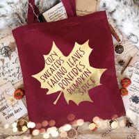 Autumn/Fall Gold Leaf Design Tote Bag