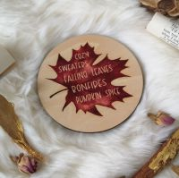 Autumn /Fall Favourites Leaf Wooden Coaster