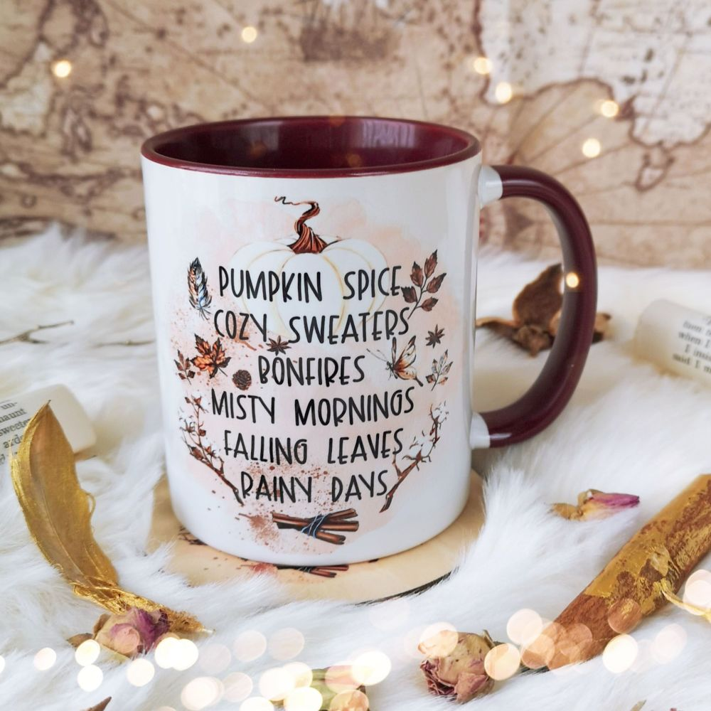 Autumn /Fall Favourites Burgundy Mug