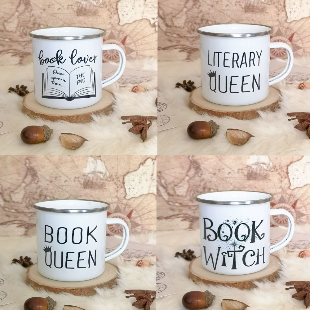 White bookish enamel campfire mugs