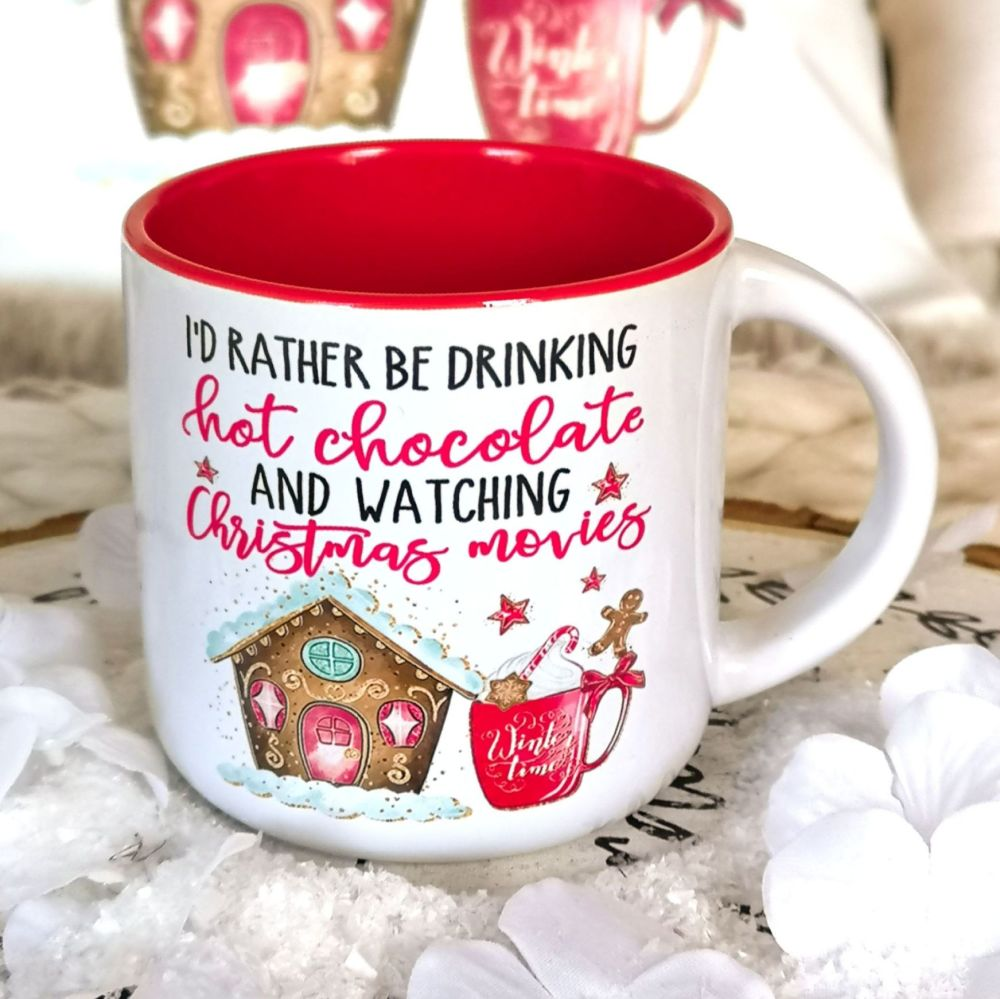 Christmas Red Campfire Mug - Movies & Hot Chocolate