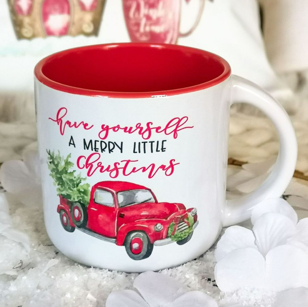 Christmas Red Campfire Mug - Merry Little Christmas Truck