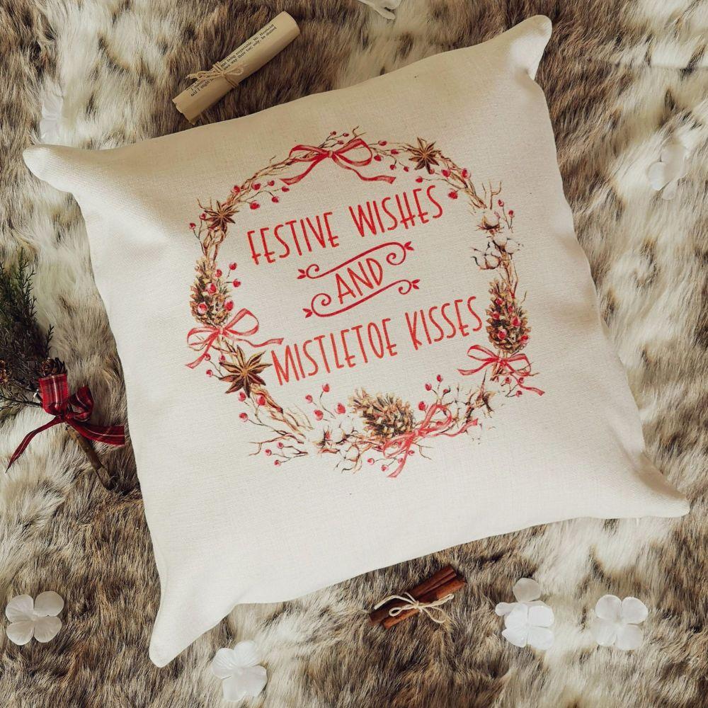 Christmas Cushion Cover - Festive Wishes & Mistletoe Kisses