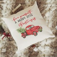 Christmas Cushion Cover - Merry Little Christmas Truck - Red