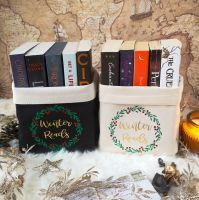 Canvas Organiser Winter Reads - in black or cream - red berries