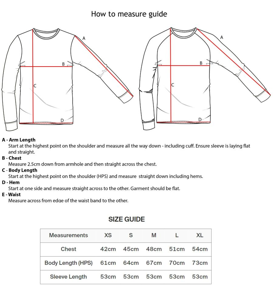 Sweatshirt measure guide - Ladies