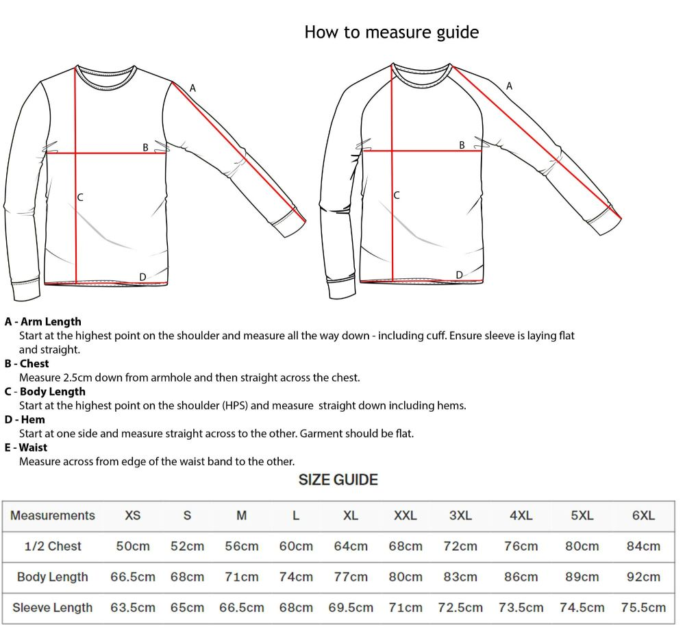 Sweatshirt measure guide
