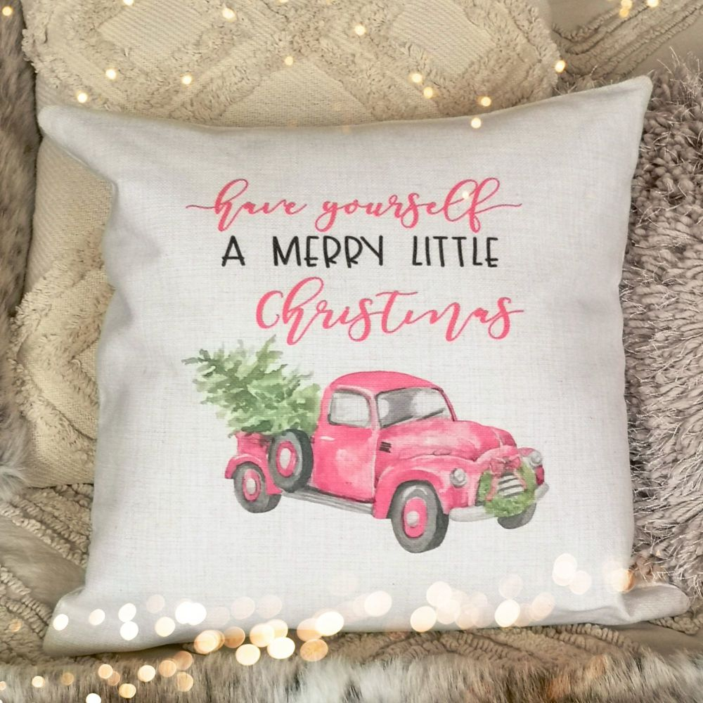 Christmas Cushion Cover - Merry Little Christmas Truck - Pink